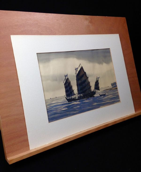 Vintage Ship / Boat Watercolour Painting Set Of Three Y.P.Chuan Chinese Junk Art
